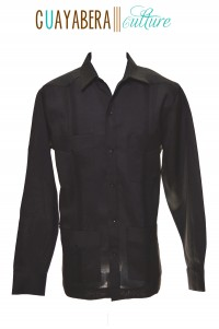 DA Long Sleeve Male Black Linen Guayabera Front
