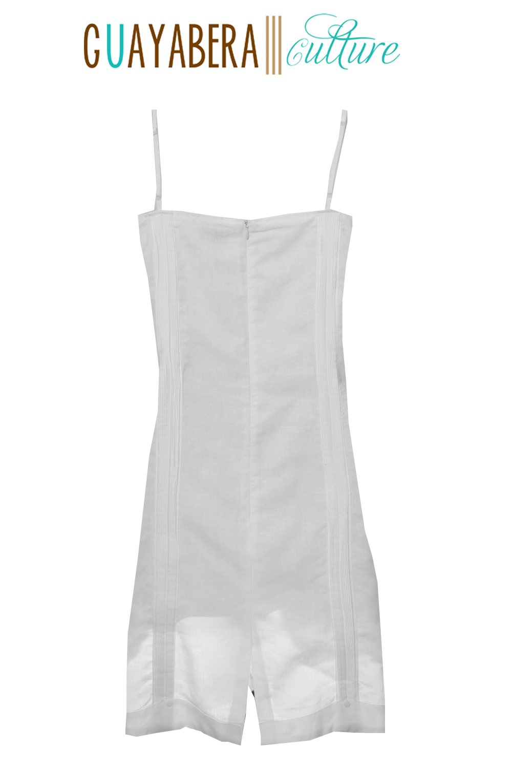 JMP Straps Female White Guayabera Dress Back 1