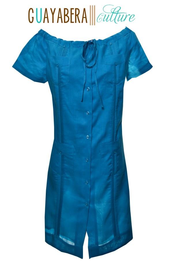 Off Shoulder Linen Dress Aqua