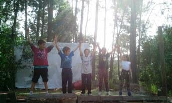 Los primeros en llegar. De izquierda a derecha: Diego, Pancho, Matías, Julieta y Martina