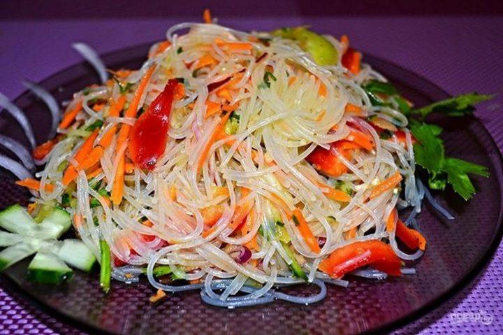 фунчоза, овощи, блюдо