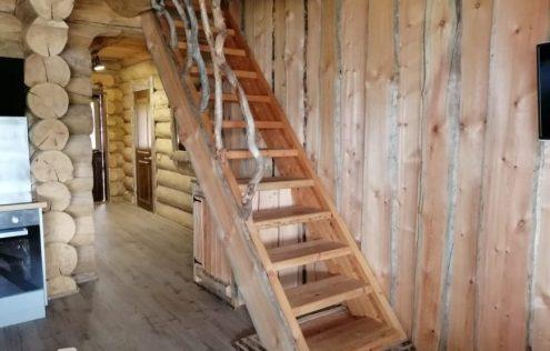 деревянная лестница, коттедж, карелия, забронировать, арендовать, аренда, туризм, дом в карелии, снять, на выходные, для компании, рускеала, сямозеро, карелия онлайн, едем в карелию
