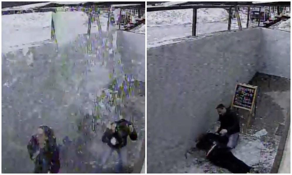 Упала глыба льда в Петрозаводске