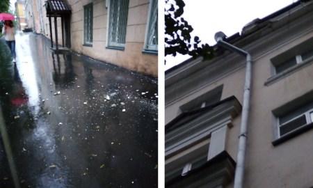 «Могло убить и меня»: в центре Петрозаводска обрушилась часть крыши здания