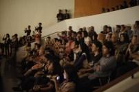Suasana penonton dalam pembukaan ARKIPEL ke 4 SOSIAL/KAPITAL, Jakarta Internasional Documentary and Experimental Film Festival, di GoetheHaus, Jakarta. foto: Arsip Penyelenggara ARKIPEL 2017