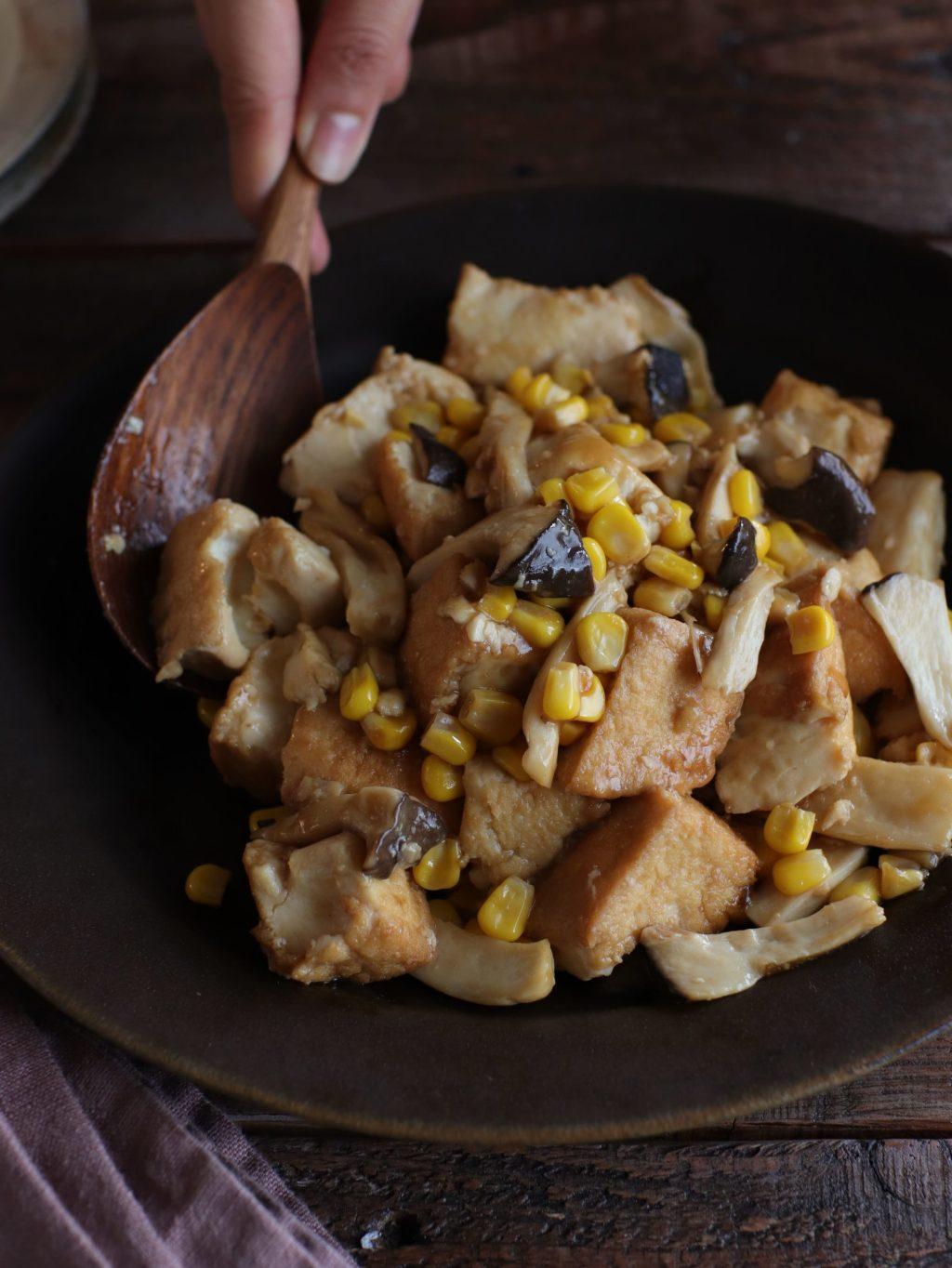 【レシピ】ちぎって簡単!厚揚げとエリンギのバタポン炒め