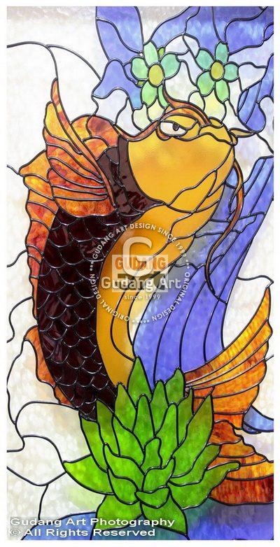 Ornamental Kaca Patri Ikan Mas Koi Dan Merak
