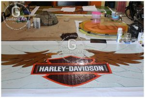 Kaca Patri Harley Davidson Design Logos