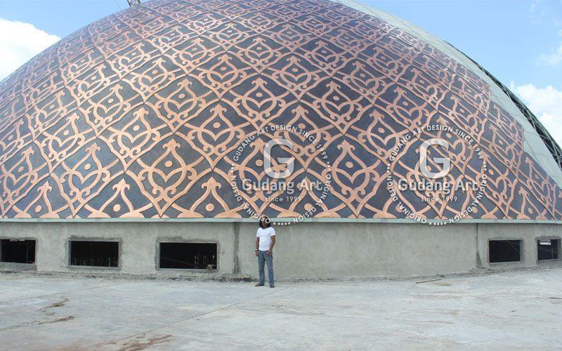 contoh pemasangan kubah masjid tembaga