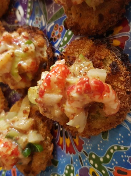 Fried pickled green tomatoes with crayfish remoulade