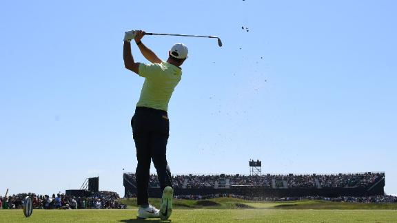 McIlroy tees off in his second round of The Open on the 16th.