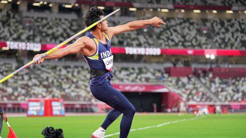Neeraj Chopra's throw of 87.58 m earned him gold in the javelin throw at Tokyo 2020.