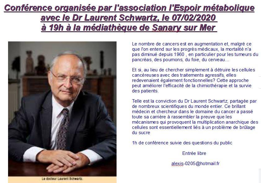 Conférence organisée par l'association l'Espoir Métabolique avec le Dr Laurent Schwartz