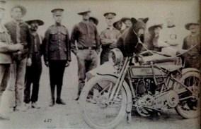 Winnie and an Army motorbike