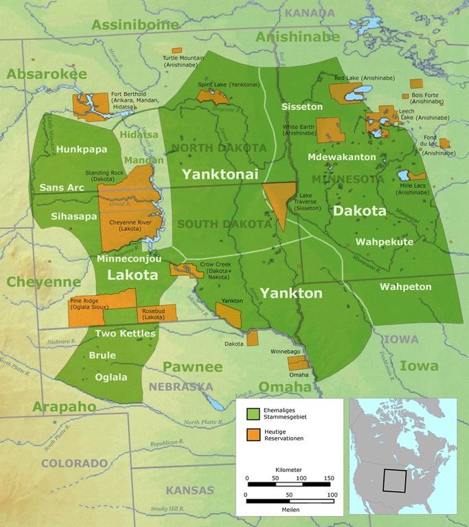 Territoire tribal de la Nation des Grands Sioux.