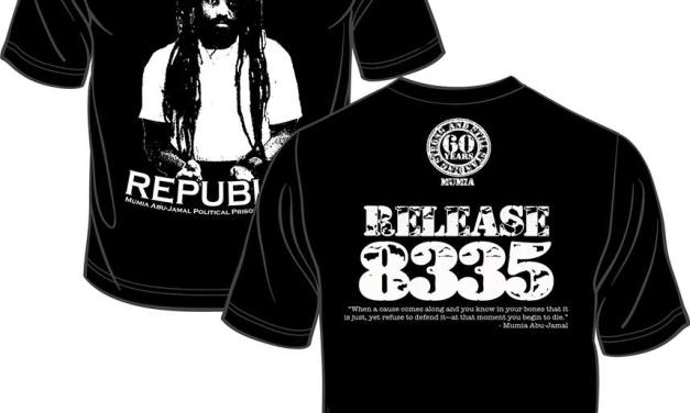 """ I STAND WITH MUMIA ""  OFFICIAL SHIRT "" RELEASE 8335 """