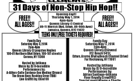 31 Days of Non-Stop Hip Hop- Hip Hop Elements: Family Day Events & Workshops with THE UZN IN QUEENZ NEW YORK , FREE !