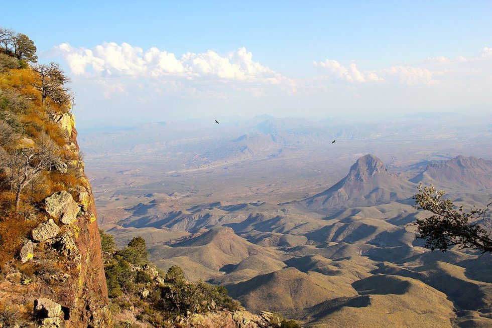 Looking into the Chihuahuan Desert from  the South Rim Trail in Chisos Mountains of Big Bend National Park, Texas