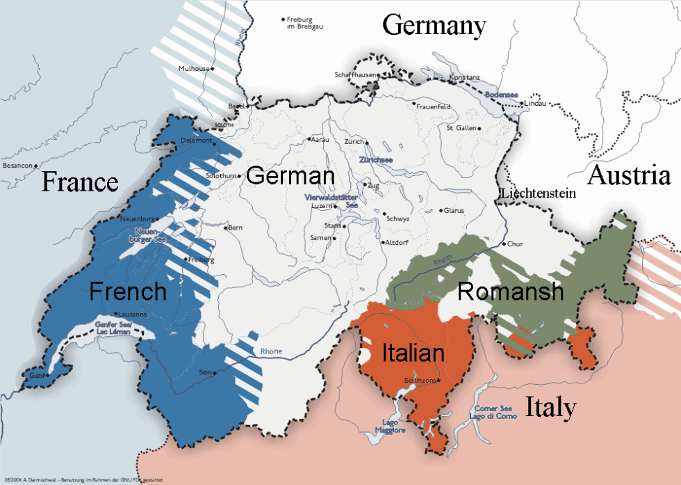 The traditional Romansh-speaking parts of Switzerland (dark green)