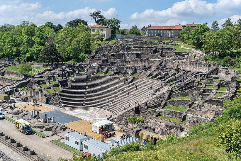 There is the remains of an ancient Roman theater in Lyon, France.