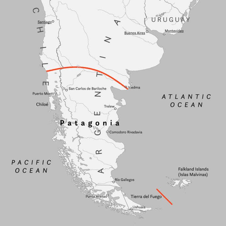 The Patagonia region is in both Chile and Argentina.