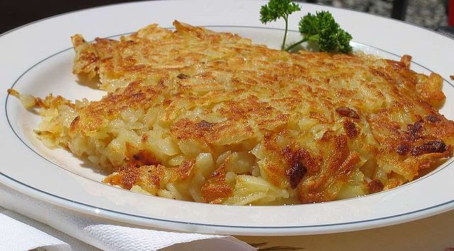 Rösti is a Swiss potato dish that is sort of like a cross between a potato pancake and hash browns.