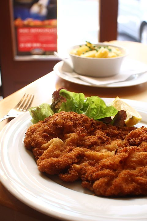 Wiener schnitzel is a thin, breaded, pan-fried veal cutlet.