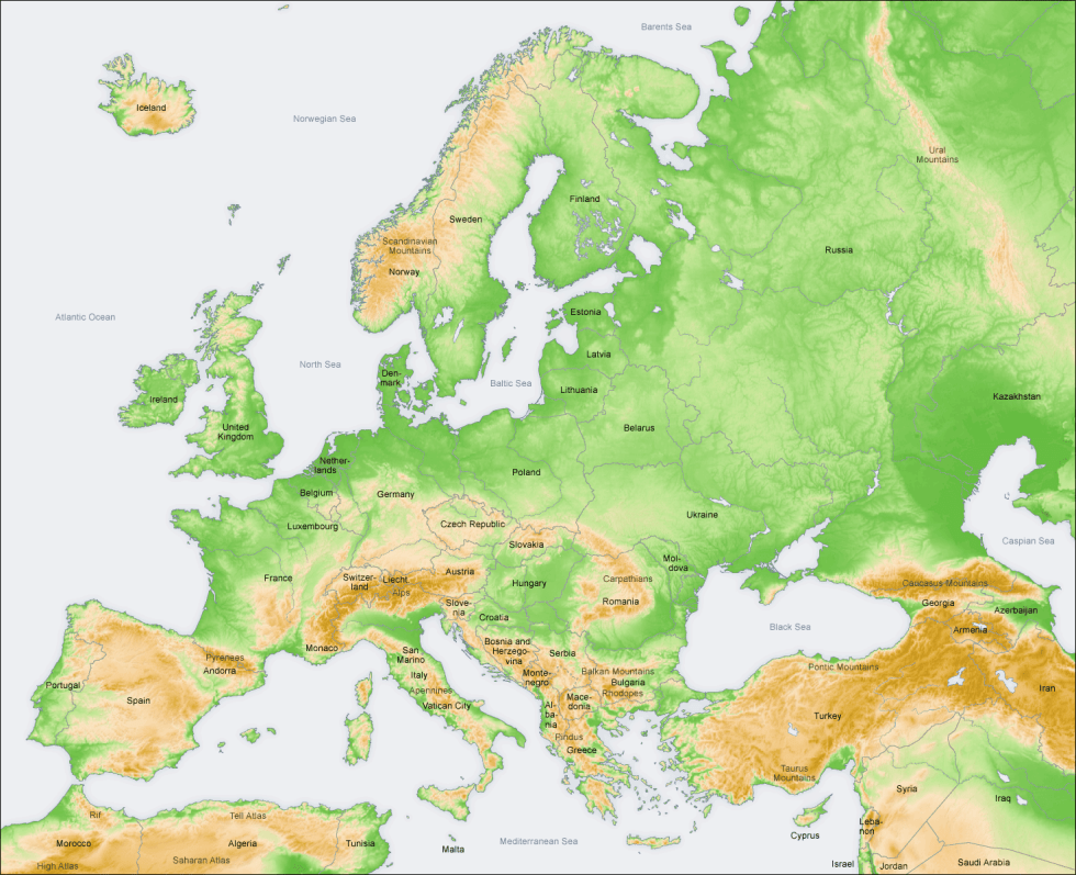 European physical geography and political boundaries