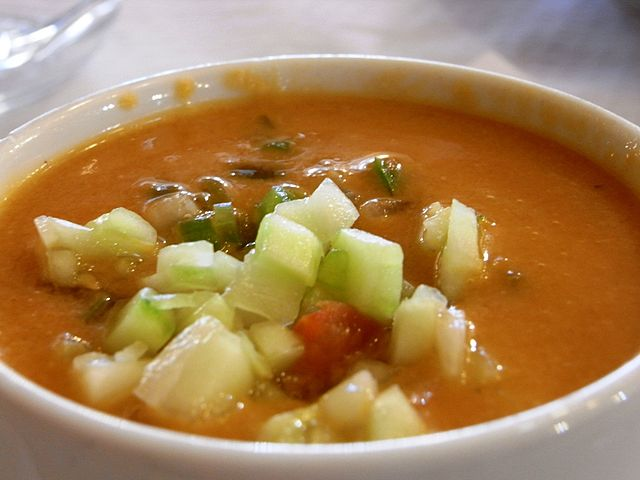 Gazpacho is a cold soup made of vegetables.