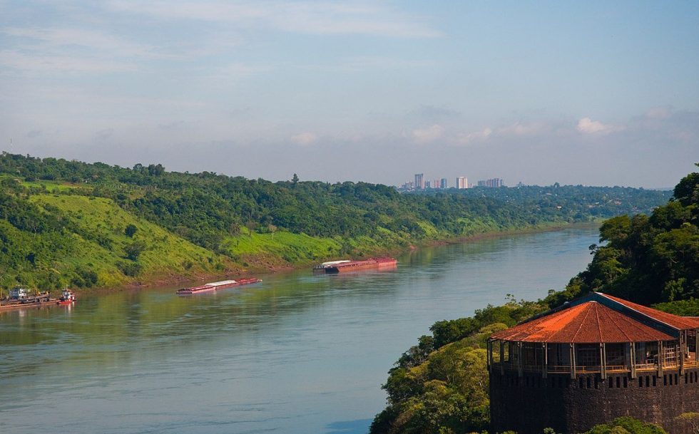 The Paraguay River - The building in the foreground is in Brazil.