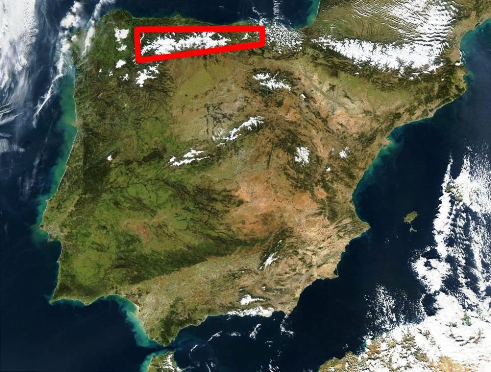 The location of the Cantabrian Mountain range where the climate is influenced by the ocean.