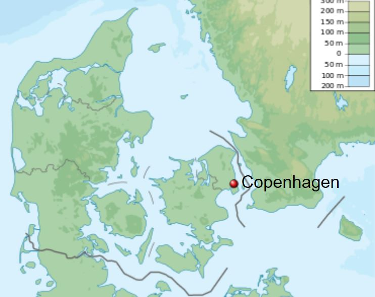 Copenhagen is the capital of Denmark and is another port city.
