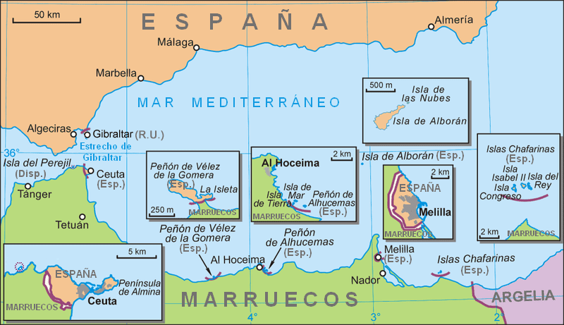 These are Spain's enclaves. Morocco claims sovereignty over the Plazas de soberanía, plus the autonomous cities of Ceuta and Melilla.