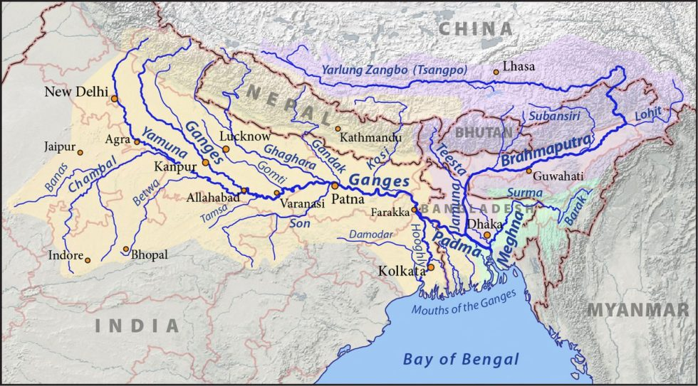 The Ganges (in the yellow area) and Brahmaputra (in the purple area) rivers and their drainage basins.