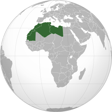 The Maghreb is also known as Northwest Africa and Barbary. It's mostly Muslim and includes Algeria, Libya, Mauritania, Morocco, and Tunisia. These countries are member states of the Arab Maghreb Union.