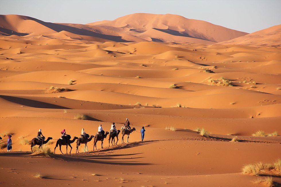 Landscape of the Erg Chebbi, one of Morocco's large sand dune seas.