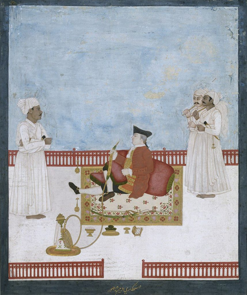 This is a portrait of an East India official (William Fullerton) who lived in Calcutta, India in the 1700's. He was the only Englishman to survive the massacre of the English during the war with Mir Kasim of Murshidabad.