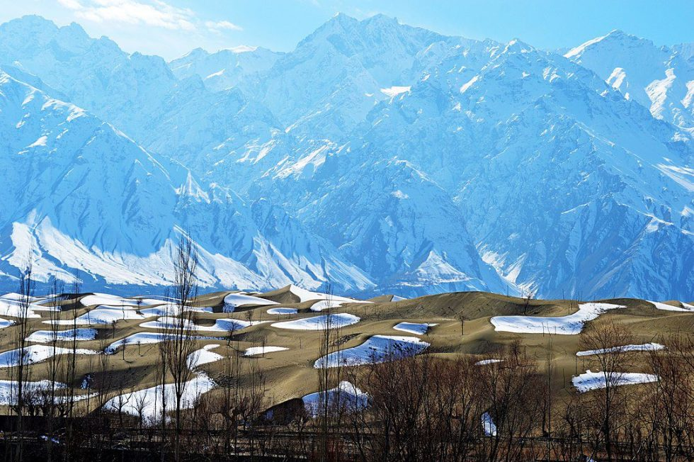 Sand dunes in Pakistan's northern region near Skardu are occasionally covered in snow.