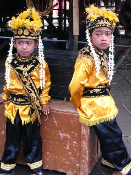 Tenggerese children at a wedding in traditional attire - Tenggerese are a sub-group of the Javanese ethnic group.