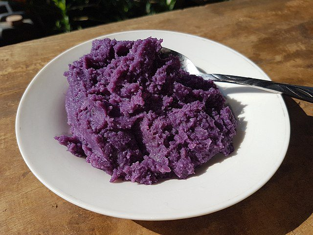 Ube halaya is a dessert made from mashed purple yam.