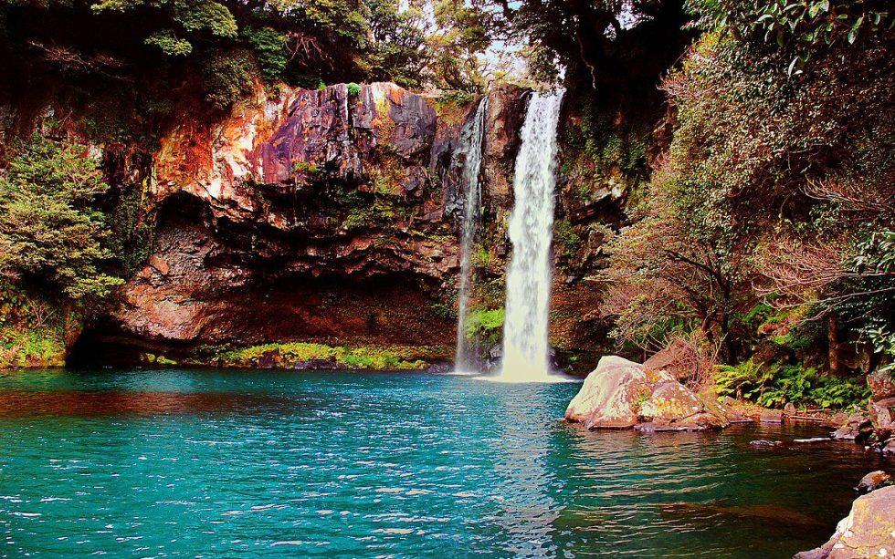 A waterfall on Jeju Island