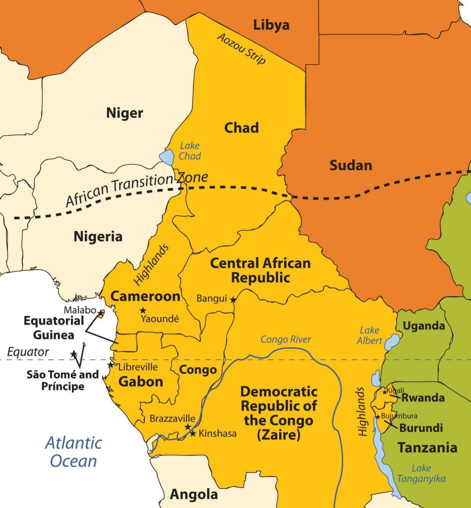 Chad is often included in other regions, but in this text it is included with Central Africa. The Congo River is the main river of this region.