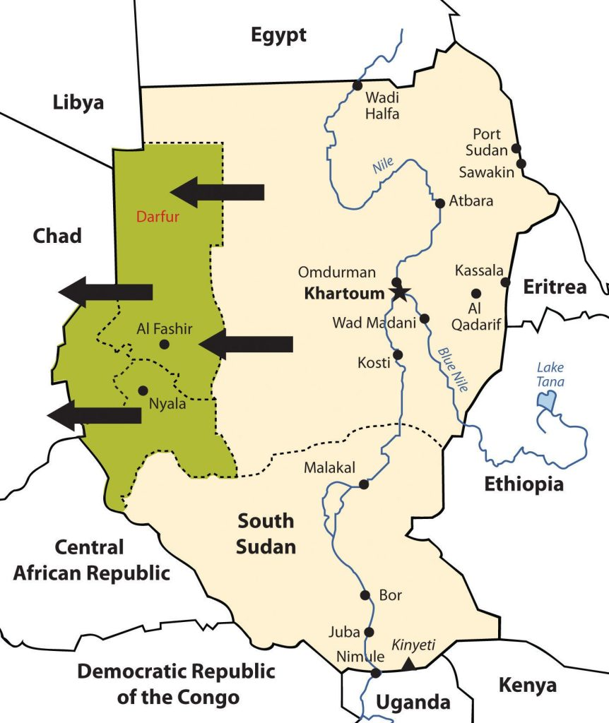 South Sudan has elected to break away and become independent. The Darfur region has been experiencing genocide by Janjaweed militias backed by the Arab majority in northern Sudan.