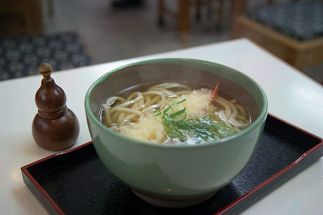 Udon is a type of thick, wheat-flour noodle.