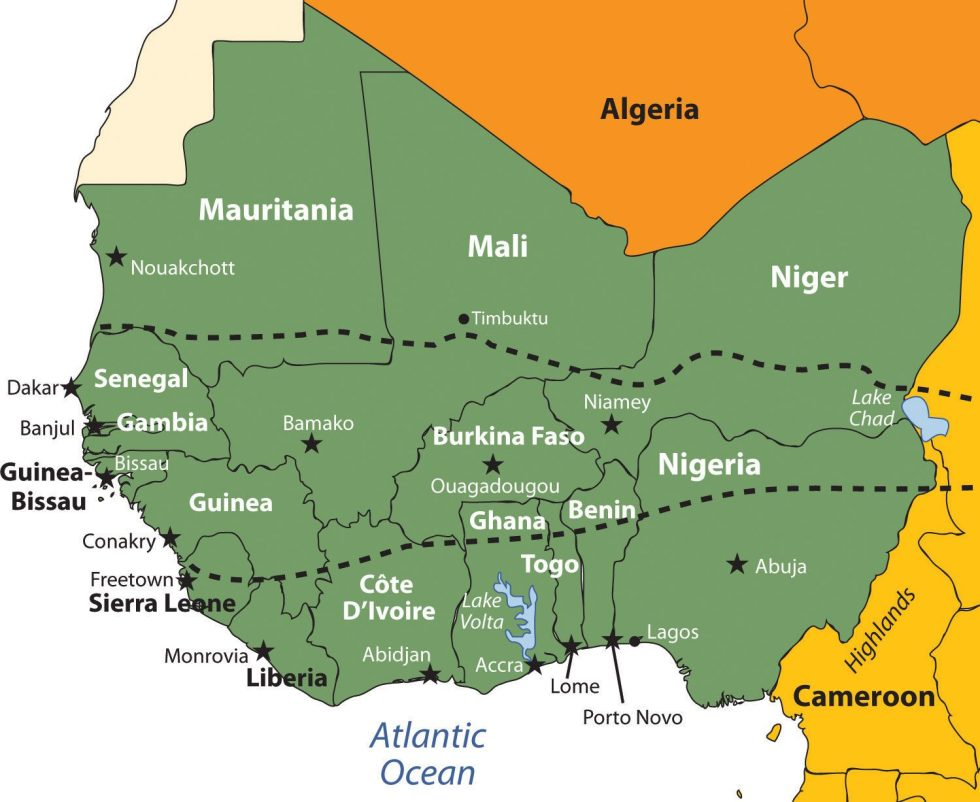 This map shows the region of West Africa as defined in this chapter. The African Transition Zone crosses the middle of this region.