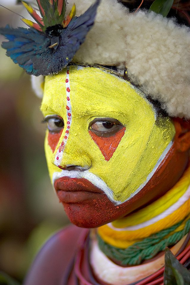 A woman of Papua New Guinea with facepaint
