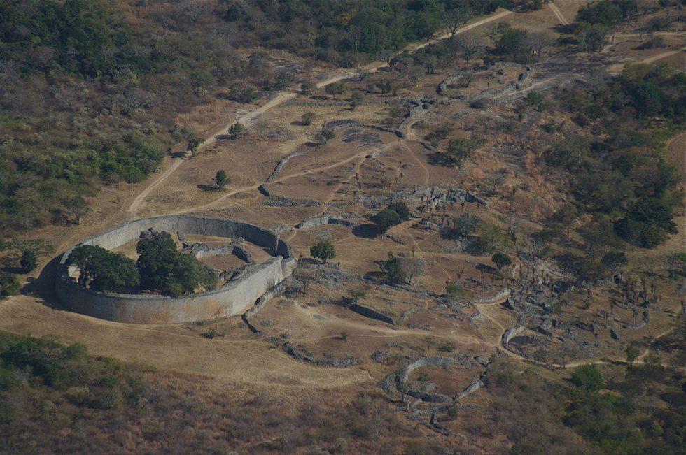 Aerial view of Great Zimbabwe's Great Enclosure ruins