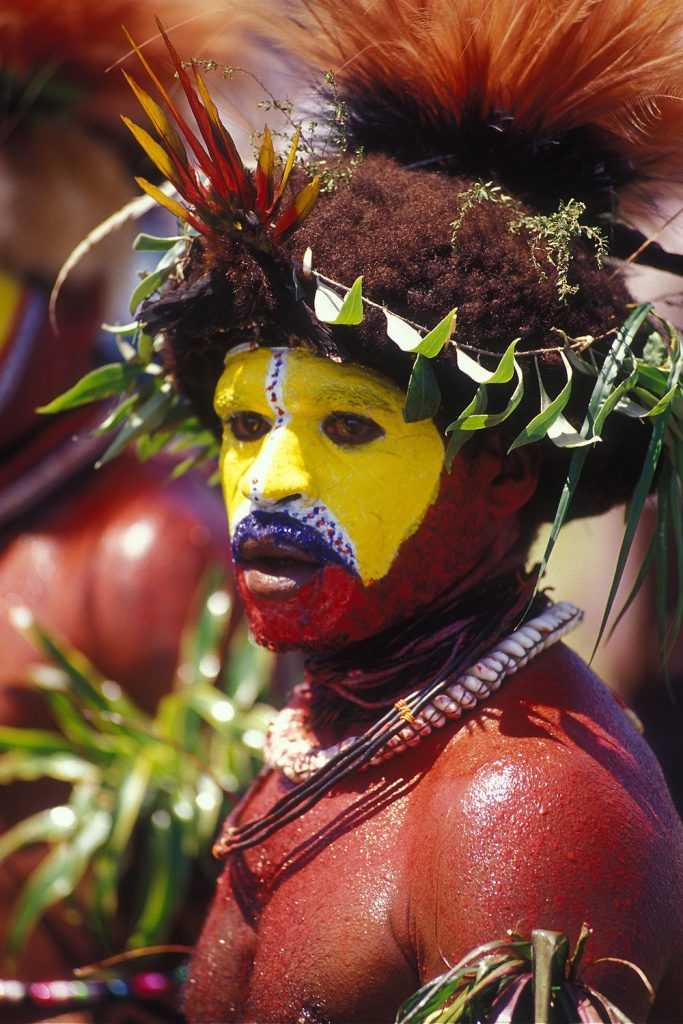 A Huli man. The Huli are one of the largest cultural groups in Papua New Guinea, numbering over 250,000 people.