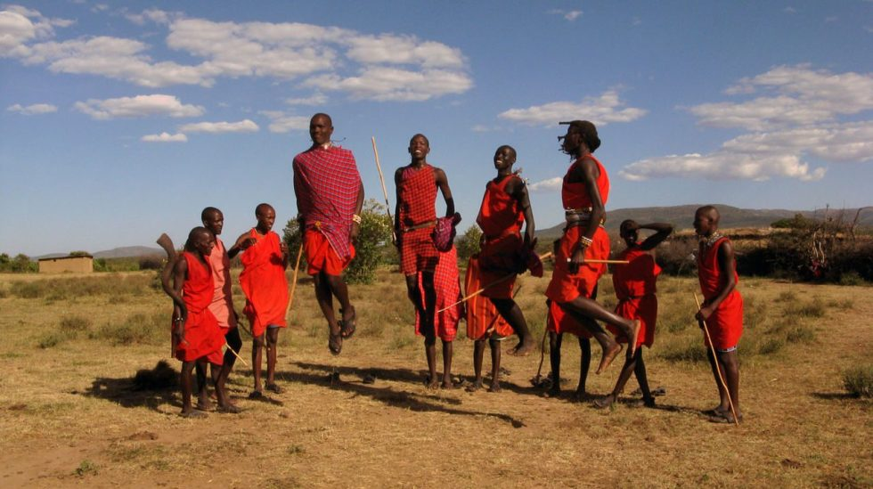 Maasai men performing traditional jumping dance (Adumu)