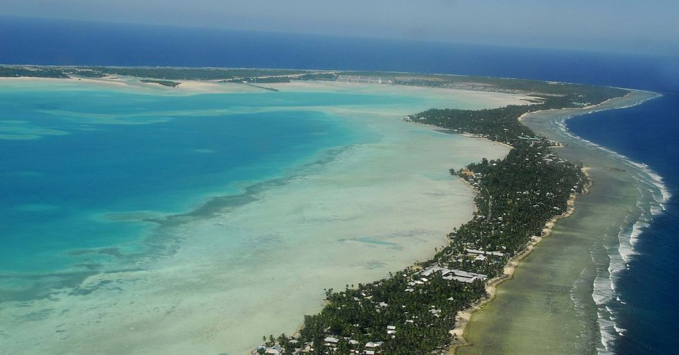 South Tarawa is a narrow strip of land between the lagoon and the ocean